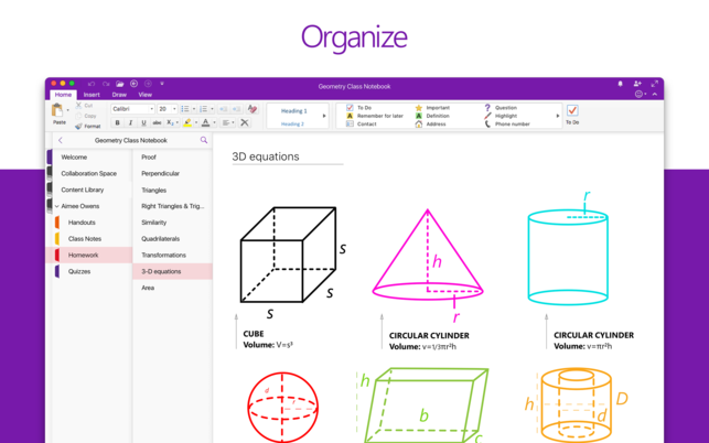 screenshot of OneNote application