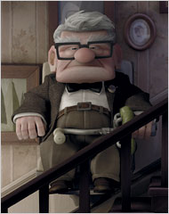 Picture of carl fredrickson from the movie UP riding a stairlift