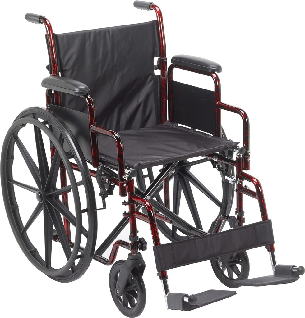 Image of a red basic wheelchair
